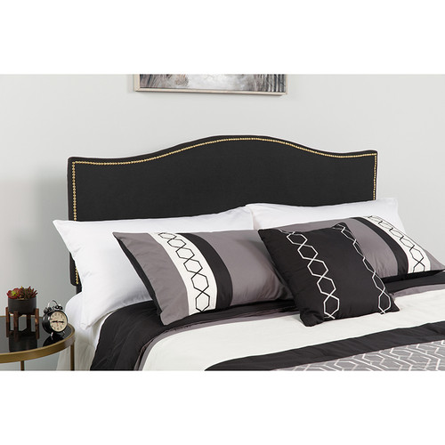 Transitional Style Panel Headboard with Arched Top