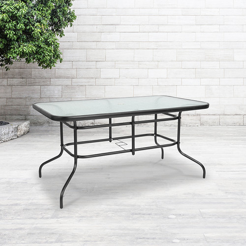 Rectangular Glass Patio Table