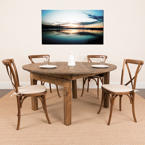 Round Farmhouse Dining Table in Antique Rustic Stain Finish