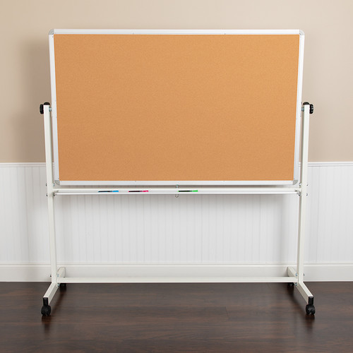 Double-Sided Magnetic Mobile Marker Board & Cork Board Stand