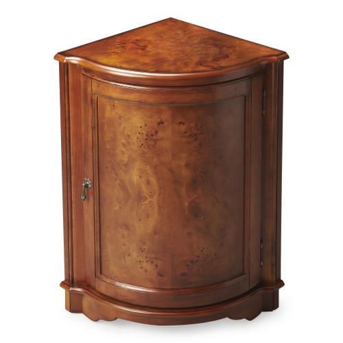 Butler Durham Olive Ash Burl Corner Cabinet
