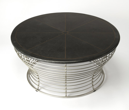 Butler Fleming Fossil Stone & Metal Coffee Table