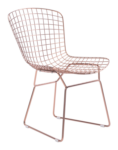 Wire Dining Chair Rose Gold Set of Two
