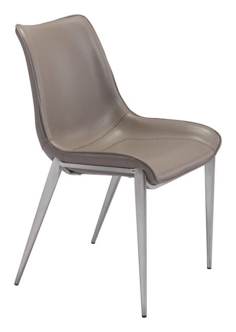 Magnus Dining Chair Gray & Brushed Stainless Steel Set of Two