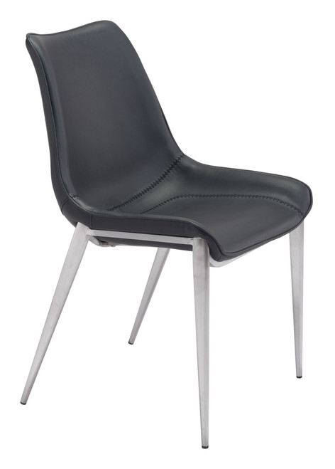 Magnus Dining Chair Black &  Brushed Stainless Steel Set of Two