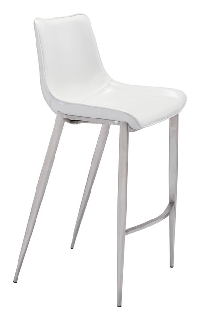 Magnus Bar Chair White &  Brushed Stainless Steel Set of Two