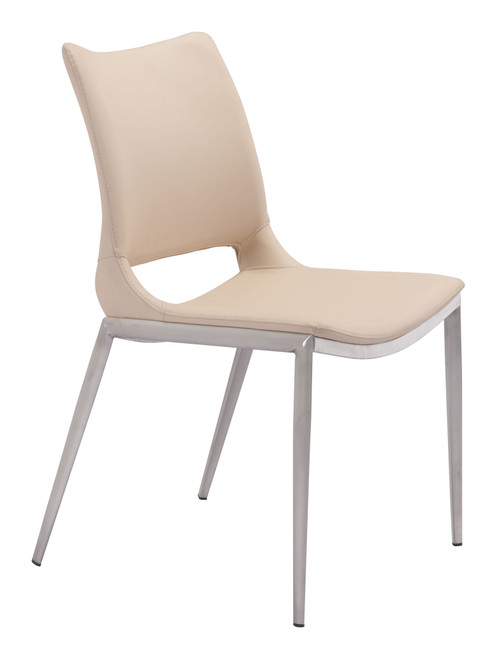Ace Dining Chair Light Pink & Brushed Stainless Steel Set of Two