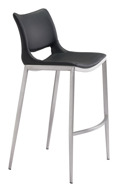 Ace Bar Chair Black &  Brushed Stainless Steel Set of Two