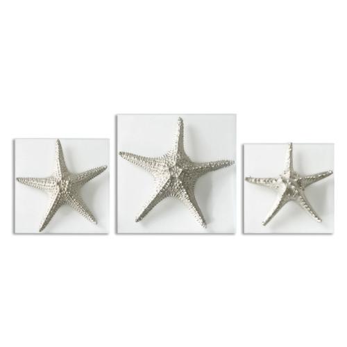 Uttermost Silver Starfish Wall Art, S/3