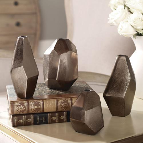 Uttermost Amna Matte Nickel Vases Set/4