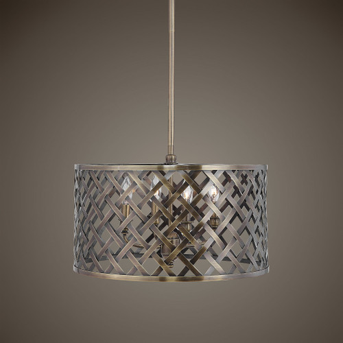 Uttermost Grata 4 Light Brass Latticework Pendant