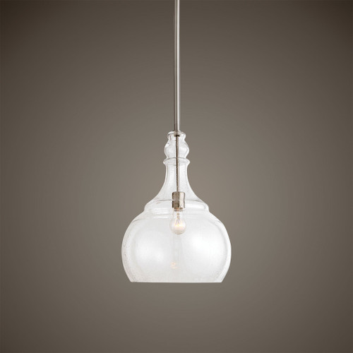 Uttermost Ilona 1 Light Seeded Glass Teardrop Pendant