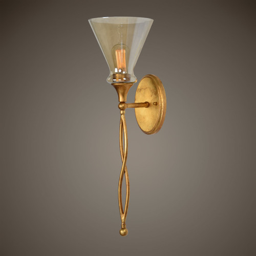 Uttermost Glam 1 Light Gold Sconce
