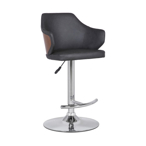 Aaron Mid-Century Adjustable Barstool in Chrome Finish with Grey Faux Leather and Walnut Wood Finish Back
