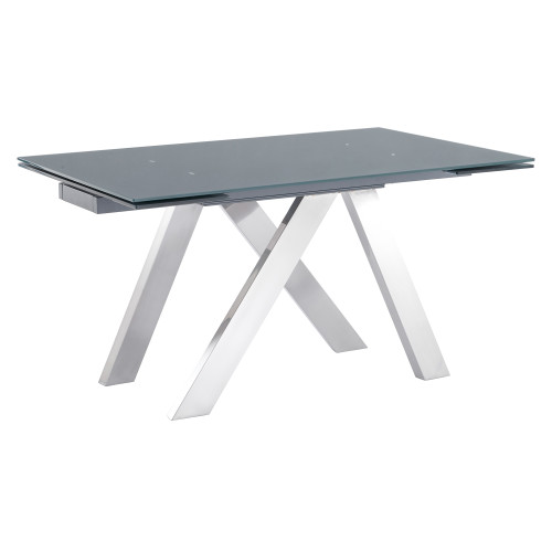 Ace Contemporary Extension Dining Table in Grey Powder Coated Finish with Brushed Stainless Steel and Grey Tempered Glass Top