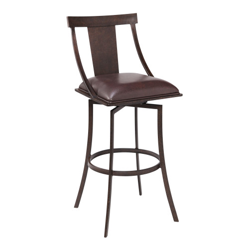 "Brisbane Contemporary 30"" Bar Height Barstool in Auburn Bay Finish and Brown Faux Leather"