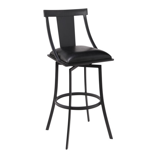 "Brisbane Contemporary 30"" Bar Height Barstool in Matte Black Finish and Black Faux Leather"