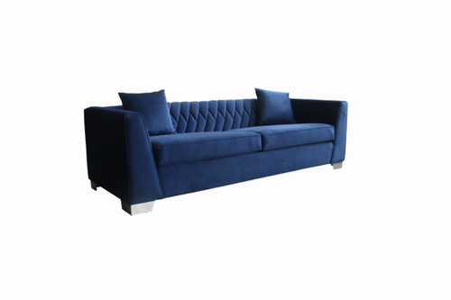 Cambridge Contemporary Sofa in Brushed Stainless Steel and Blue Velvet