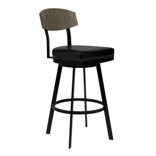 "Frisco 30"" Bar Height Barstool in Matte Black Finish with Black Faux Leather and Grey Walnut"