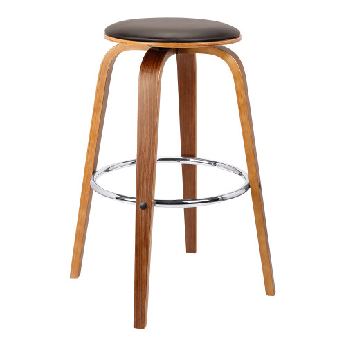 "Armen Living Harbor 26"" Mid-Century Swivel Counter Height Backless Barstool in Brown Faux Leather with Walnut Veneer"