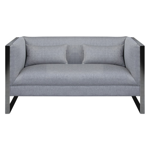 Armen Living Royce Contemporary Loveseat with Polished Stainless Steel and Grey Fabric