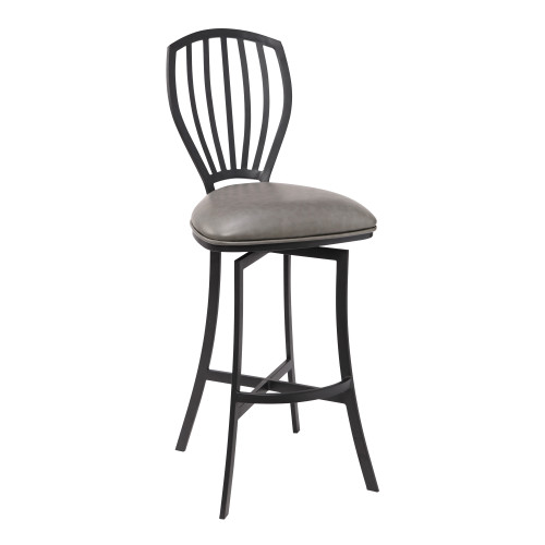 "Sandy Contemporary 30"" Bar Height Barstool in Matte Black Finish and Vintage Grey Faux Leather"