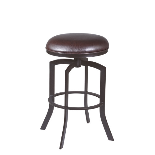 """Armen Living Studio 26"""" Counter Height Barstool in Auburn Bay finish with Brown Faux Leather"""