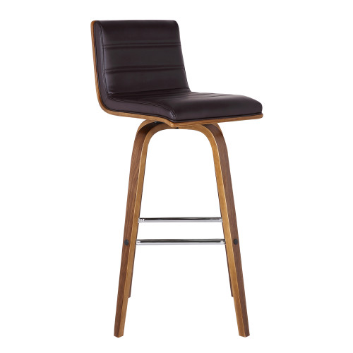 """Armen Living Vienna 30"""" Bar Height Barstool in Walnut Wood Finish with Brown Faux Leather"""