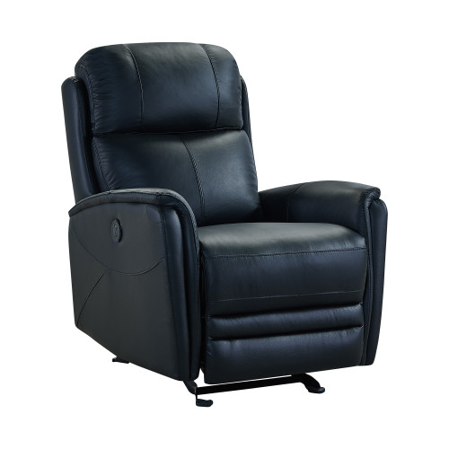 Wolfe Contemporary Recliner in Black Genuine Leather