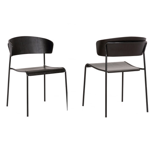 Zeph Black Wood and Metal Open Back Dining Chairs (Set of 2)