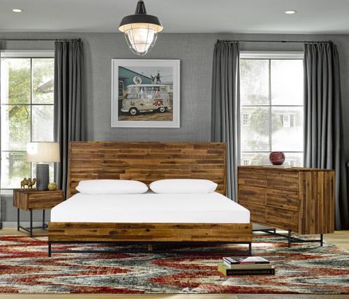 Cusco 4 Piece Acacia Queen Bedroom Set with Dresser and Nightstands