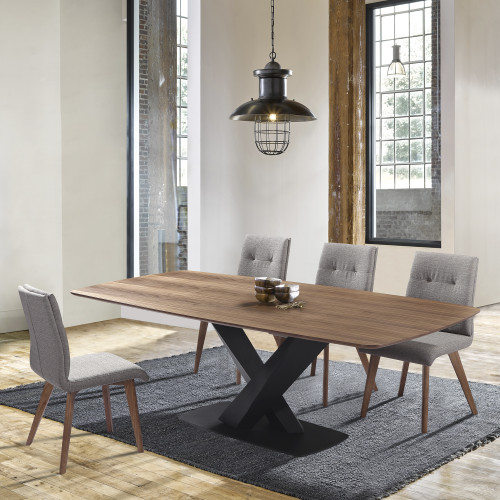 Noble Mid-Century Walnut Wood 5 Piece Dining Set