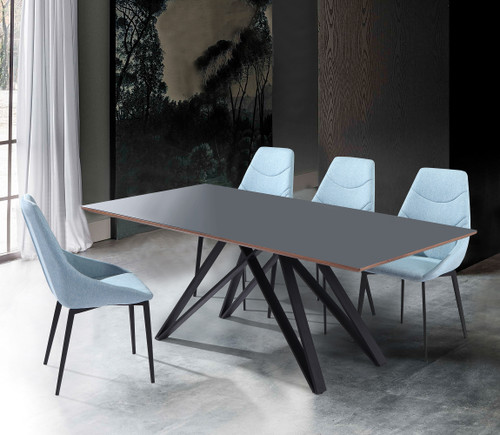 Urbino Contemporary Grey Glass 5 Piece Metal Dining Set