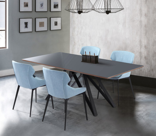 Kenna Contemporary Grey Glass 5 Piece Metal Dining Set
