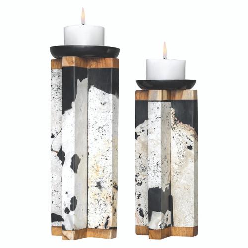 Uttermost Illini Stone Candleholders, S/2