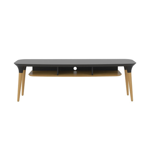 Manhattan Comfort HomeDock 62.99  TV Stand with 3 Shelves  in Black and Cinnamon