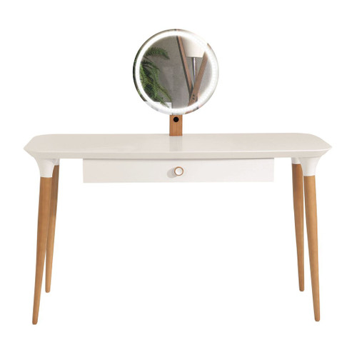 Manhattan Comfort HomeDock Vanity Table with LED Light Mirror and Organization in Off White and Cinnamon
