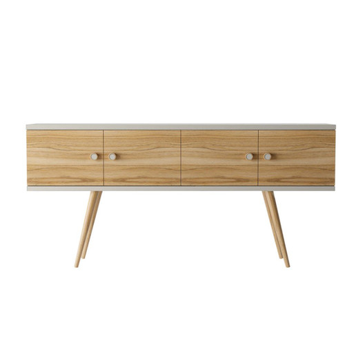 Manhattan Comfort Theodore 60.0 Sideboard with 2 Shelves  in Off White and Cinnamon