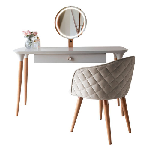 Manhattan Comfort 2-Piece HomeDock Vanity Dressing Table with Mirror Led Lights and Kari Accent Chair Set in Off White and Beige