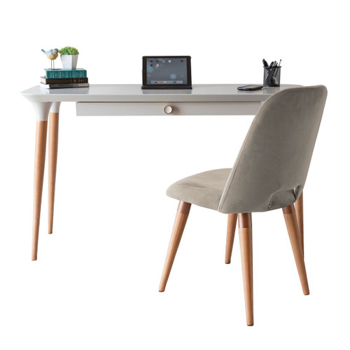 Manhattan Comfort 2-Piece HomeDock Office Desk with Organization Compartments and Selina Accent Chair Set in Off White and Beige