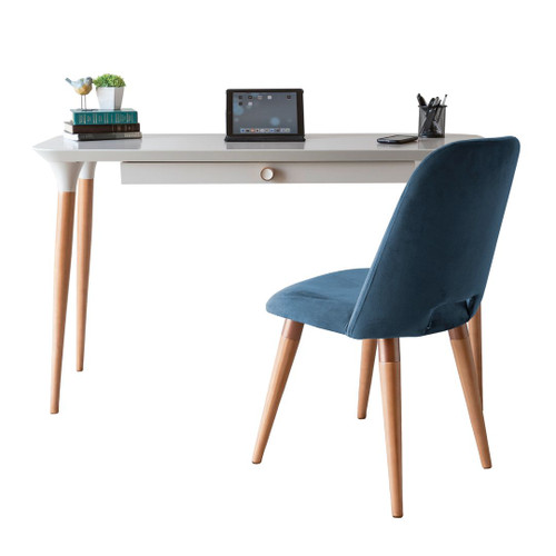 Manhattan Comfort 2-Piece HomeDock Office Desk with Organization Compartments and Selina Accent Chair Set in Off White and Blue