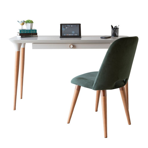 Manhattan Comfort 2-Piece HomeDock Office Desk with Organization Compartments and Selina Accent Chair Set in Off White and Green