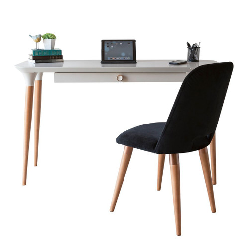 Manhattan Comfort 2-Piece HomeDock Office Desk with Organization Compartments and Selina Accent Chair Set in Off White and Black