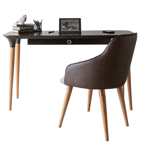 Manhattan Comfort 2-Piece HomeDock Office Desk with Organization Compartments and Martha Accent Chair Set in Black and Brown