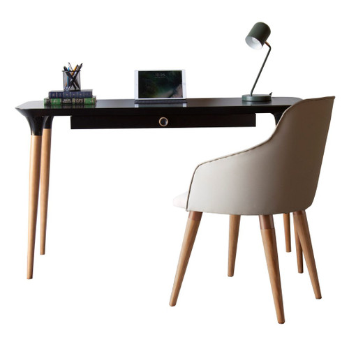 Manhattan Comfort 2-Piece HomeDock Office Desk with Organization Compartments and Martha Accent Chair Set in Black and Beige