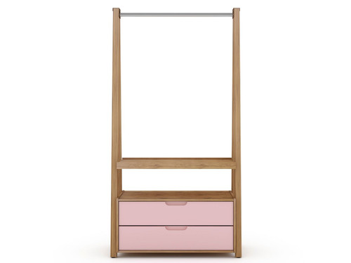 Manhattan Comfort Rockefeller Coat Entryway with 2 Drawers in Nature and Rose Pink