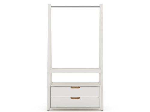 Manhattan Comfort Rockefeller Home Office Storage with 2 Drawers in Off White and Nature