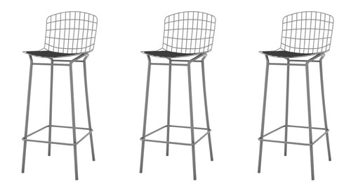 """Manhattan Comfort Madeline 41.73"""" Barstool, Set of 3 with Seat Cushion in Charcoal Grey and Black"""