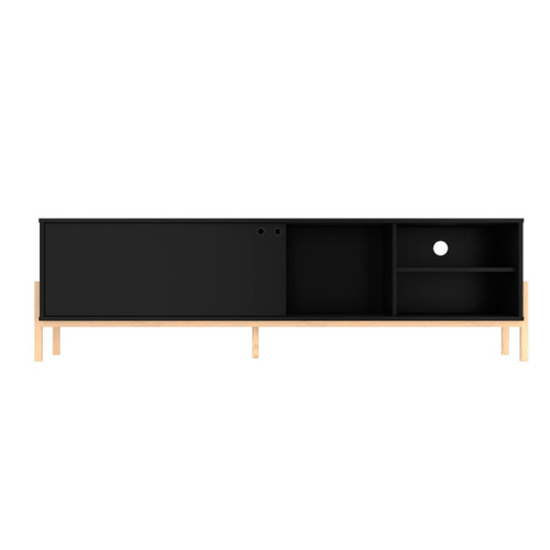 Manhattan Comfort Bowery 72.83 TV Stand with 4 Shelves in Black and Oak