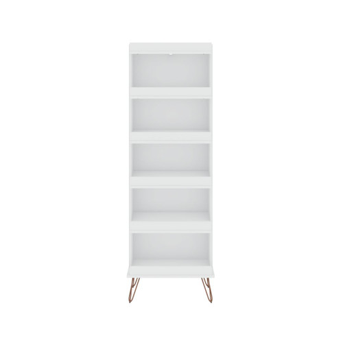 Manhattan Comfort Rockefeller Shoe Storage Rack with 6 Shelves in White